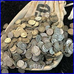 1000 Dimes $100 Face Value All Mercury Dime 90% Silver Us Coin Full Dates #9d