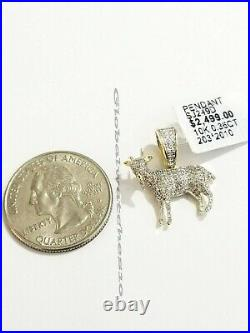 10k Yellow Gold Diamond GOAT charm pendant Real Greatest Of All Time 0.36 CT