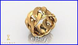 14k Solid Yellow Gold 15mm Miami Cuban Link Ring Mens 22.1g All Sizes