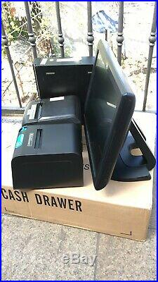 15 Touchscreen All In One POS System Restaurant Point Of Sale 2 Printers