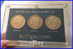 1878 Morgan Silver Dollar All-Mint Set (3 Coins P, CC, SF)