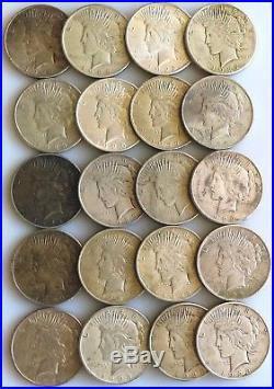 1922-1923 Grade VF-XF 20 Peace Silver Dollars NO CULLS-ALL NICE COINS