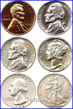1942 PR Set PCGS/CAC PR 64-67 (6 Coins) 6 Proofs, All CAC 6 Proofs, All CAC