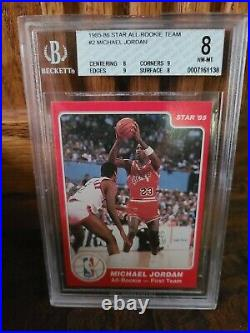 1985-86 Star All-Rookie Team #2 Michael Jordan Rookie Card BGS 8 NM-MT PSA 8.5 9