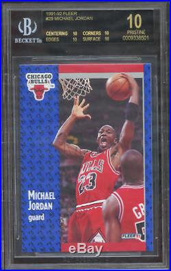 1991-92 FLEER MICHAEL JORDAN BGS PRISTINE BLACK LABEL (QUAD) ALL STRAIGHT 10's