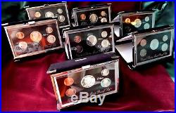 1992-1998 U. S. MINT PREMIER SILVER PROOF SETS-ALL COMPLETE WithCOA & BOXES
