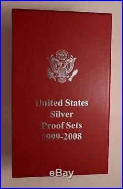 1999-2008 US MINT Silver Proof Sets (10 Sets) All State Quarters Gov't Pkgng