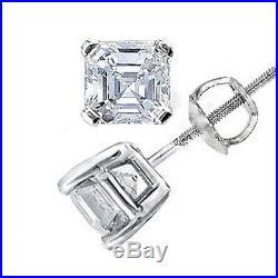 1.00 Ct. Square emerald cut, Asscher Cut Diamond Stud Earrings All Natural