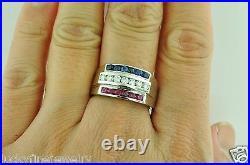 1.25 ct 14k White Gold Men's Natural Diamond Sapphire Ruby Ring All American USA