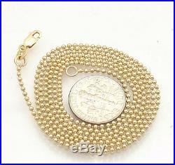 1.5mm All Shiny Round Bead Ball Chain Necklace REAL Solid 14K Yellow Gold
