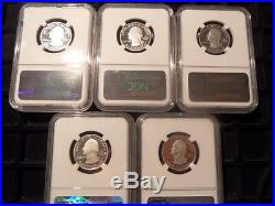 2014S US Silver Ultra Cameo Proof Five Coin Set- All NGC Cert PF69 UCAM