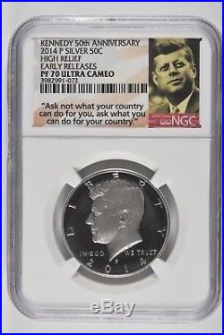 2014 P W D S 50th Anniversary Silver Kennedy 4 Coins NGC PF SP ALL 70 Set ER