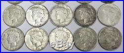 20x Peace silver dollars 4x1922 9x1923 1924 3x1925 2x1926 & 1934 all F/VF