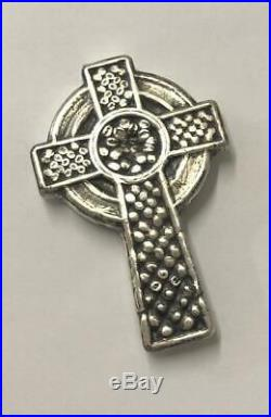 3 Oz MK Barz All Saints Celtic Cross Hand Poured. 999 Fine Silver