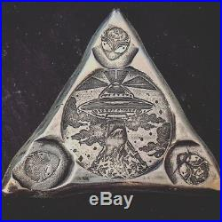 3 Troy Oz. 999 FS MK BarZ Alien Abduction All Seeing Eye Triangle LTD Ed 500