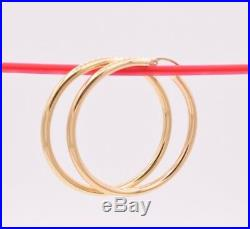 3mm X 45mm 1 3/4 Large Plain All Shiny Hoop Earrings REAL 14K Yellow Gold 3.7gr