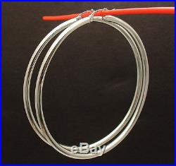 3mm X 70mm 2 3/4 All Shiny Large Huge Round Hoop Earrings REAL 14K White Gold
