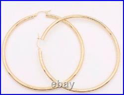 3mm X 70mm 2 3/4 Large Plain All Shiny Hoop Earrings REAL 10K Yellow Gold 4.9gr