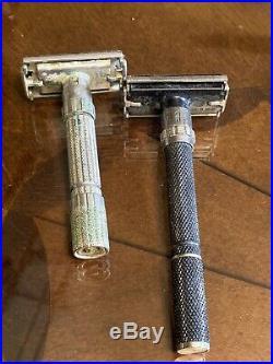9 Lot Vintage 1960s All Gillette Safety Shaving Razors Adjustable Fatboy etc