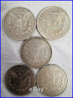 ALL 5 MINTS Morgan Silver Dollar Collection CARSON CITY CC, D, O, S & Philly