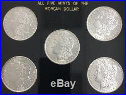 All 5 Mints 5 Morgan Dollars United States Silver Coins CC, P, D, S, AND O