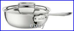 All-Clad D5 Polished 18/10 SS 5-Ply Bonded 2-qt Saucier with lid
