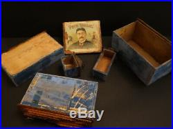All Original Antique Tramp Art Wooden Drawer 171/2 Cigar Boxes Outstanding 1880