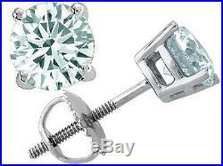 All Size's 14K SCREW BACK SOLID WHITE GOLD AQUAMARINE ROUND SHAPE STUD EARRINGS