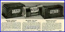 Antique 1937 New Haven Time Flip Clock All Original Art Deco Wood & Glass