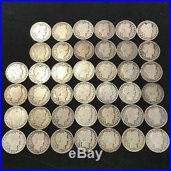 BARBER QUARTER ROLL 40 COINS $10 FACE VALUE ALL 1892 P #R58a