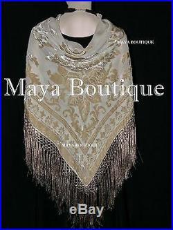 Beige Silk Burnout Velvet Piano Shawl Fringe Wrap Scarf Hand Dyed Maya Matazaro