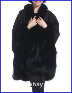 Black Cashmere cape with Fox fur Collar Trim all around one size for all new