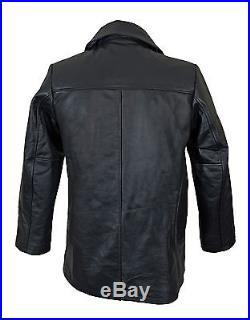 Black Leather US Navy Pea Coat WW2 Military Overcoat Jacket Quilted All Sizes