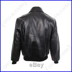 Black Leather US Pilots A2 Jacket WW2 American Airforce Repro All Sizes New