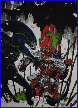 Deadstock 1993 ALIENS vs PREDATOR all over print t-shirt vtg horror movie 90s L