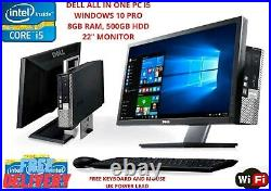 Dell PC Computer All in One Core i5 22 Monitor 8GB Ram 500GB HDD windows10 WiFi
