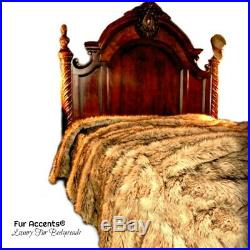 Faux Fur Bedspread Plush Coyote Wolf Throw Blanket All Sizes FUR ACCENTS