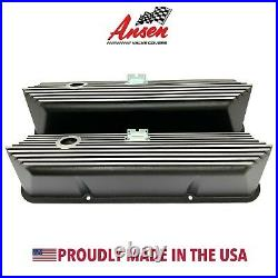 Ford FE All Finned Black Tall Valve Covers Die-Cast Aluminum Ansen USA