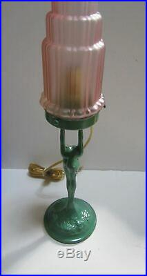 Frankart art deco standing lamp up stretched arms greenie all metal & glass USA