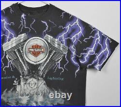Harley-Davidson Men's XL Thunder Lightning All Over Print Vintage 90s T-Shirt