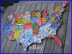 LARGE CUTOUT US LICENSE PLATE MAP- METAL WALL ART ALL 50 STATES! (Pub Bar Art)