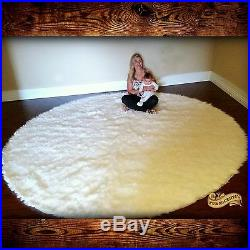 Large Round Shag Area Rug White Faux Fur Sheepskin Shabby Chic All Sizes