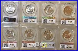 Lot Of Franklin Silver Half Dollars All Certified By Pcgs As Ms63fbl