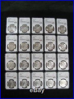 Lot of 20 Morgan Silver Dollars All NGC MS 62