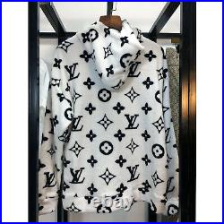 Louis Vuitton White Plush Hoodie With Black Monograms All Sizes Available