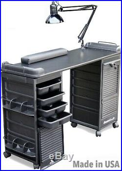 MANICURE NAIL TABLE VENTED B606 ALL BLACK WithDOUBLE LOCKABLE CARTS MADE IN USA