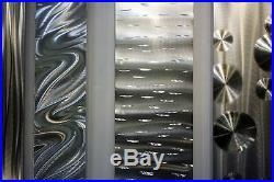 MASSIVE ALL SILVER Metal Wall Art Panels Modern Wall Sculpture. Signed Jon Allen