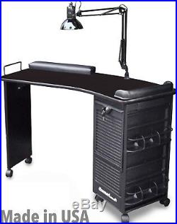 Manicure Nail Table M600-deluxe All Black Lockable Made In USA By Dina Meri
