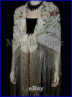 Maya Matazaro Flamenco Embroidered Silk Piano Shawl Wrap Fringed Scarf Beige 84