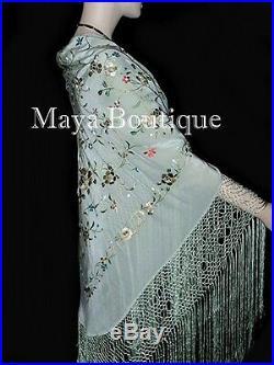 Maya Matazaro Flamenco Embroidered Silk Piano Shawl Wrap Sage Green 84
